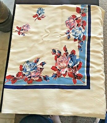 Vintage Tablecloth  red & blue floral on cream background - in good condition