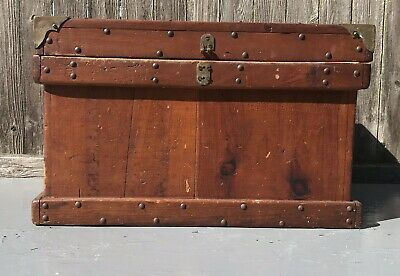 Strong Box Leather Straps Brass Corners Studded 1931 Vintage