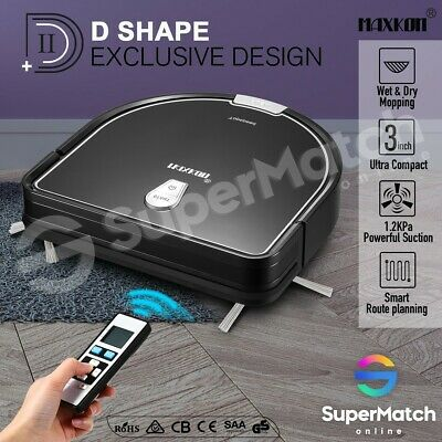Maxkon Robotic Vacuum Cleaner Self-Charged Sweeper w/Remote Control 1.2Kpa Black