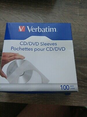 Verbatim CD/DVD Papier Sleeves-With Transparent Fenêtre 100pk Neuf