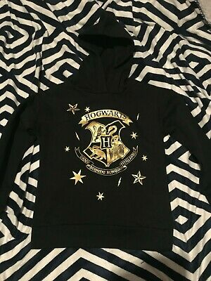 Girls Black Harry Potter Hogwarts Hoodie Sz 9 Bnwt Free Post (G88)