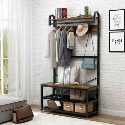 Outstanding Hall Tree Storage Bench Entry Stand Hat Coat Rack With Shelf Gmtry Best Dining Table And Chair Ideas Images Gmtryco