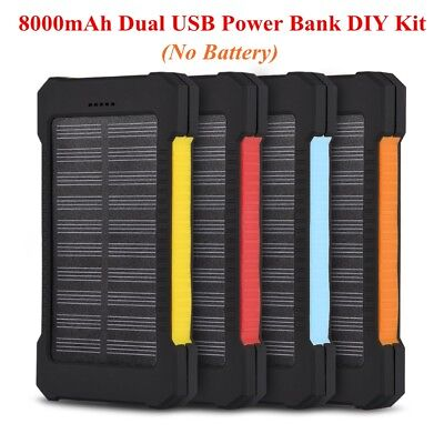 8000mAh 5V Dual USB Power Bank Case Kit Solar Charger DIY Box For Smart Phone TH