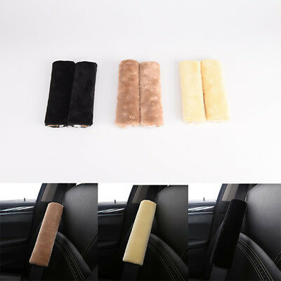 2PCS Auto Car Plush Seat Belt Safety Strap Soft Shoulder Pad Harness Cover new!