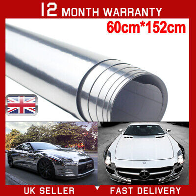 SILVER CHROME MIRROR Vinyl Wrap Film Car Sticker Decal Sheet Air Bubble Free UK
