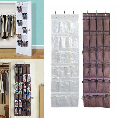 24 Pockets Hanging Shoe Organiser Bag Storage Rack Hanger Holder Over Door AU