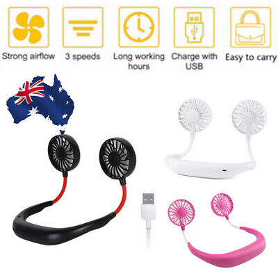 HandFree Fan USB Recharge Portable Neckband Neck Double Cooling Fans Outdoor FO