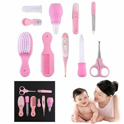10pcs Baby Grooming Kit Infant Nursery Set Baby of Cleaning Healthcare Kits Pink