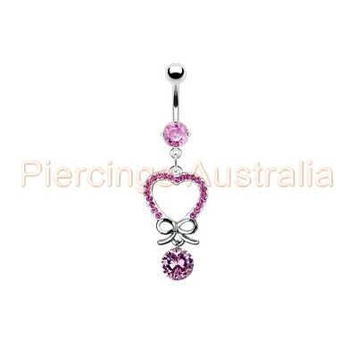 Love Heart Bow Ribbon Belly Button Bar Navel Ring Dangle Body Piercing Jewellery