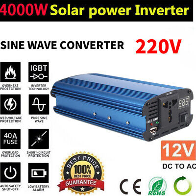 Portable 4000W Car Solar Power Inverter  DC12V to AC220V Sine Wave Converter