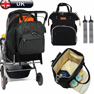 Multi-use Large Mummy Baby Diaper Nappy Backpack Mom Changing Travel Bag Black