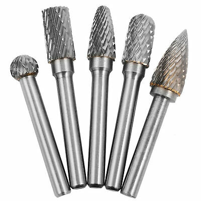 "5x Tungsten Carbide Burr 1//4/"" 6mm Rotary Cutter Files Set CNC Engraving CED"