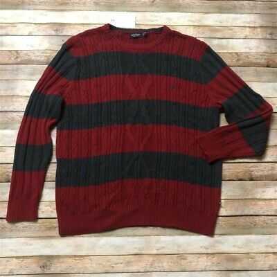 Nautica Mens Knit RIbbed Pullover Red Gray Sweater XXL 2XL Crew Neck
