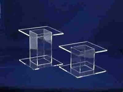 "6"" High Square Single Stem Acrylic Cake Stand / Separator"