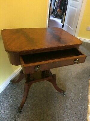 Sewing Table - Craft Table with drawer & brass claw feet with castors