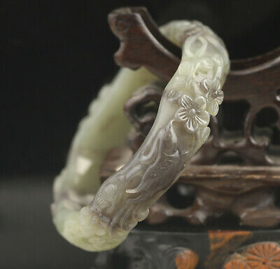 China natural hetian jade hand carved flower and phenix bangle inside dia 64mm