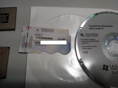 Windows 7 Pro 32 or 64-BitDVD +COA Product Key Sticker With its oem PC part