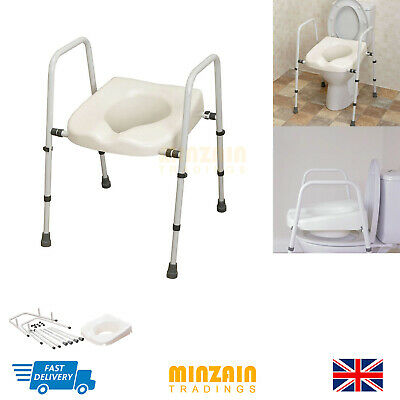 Adjustable TOILET FRAME + Raised Elevated SEAT Mobility Disability Aid Elderly