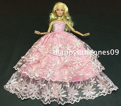 New Barbie Doll Wedding Party Evening Dress/Outfit 4-Layer Lace Trim Pink Lovely