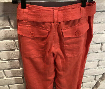 Liz Claiborne Michaela Womens Coral/Orange Capris Size 4 Belted