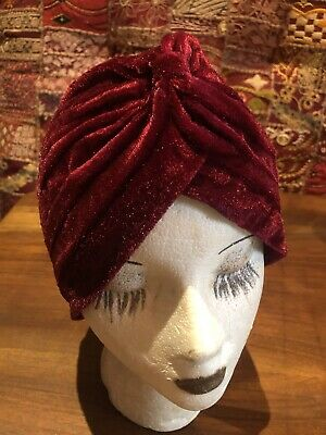 Vintage Red Stretch Velvet Turban Hat