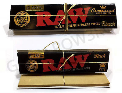 Raw Black Connoisseur King Size Slim Natural Rolling Papers + Tips Filter