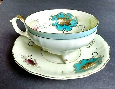 EX Vintage 3 Legged ROYAL SEALY CHINA JAPAN Teacup & Saucer FLOWERS w/ LUSTRE
