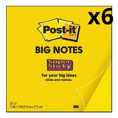 Big Notes, 11 x 11, Yellow, 30 Sheets, Pack of 6