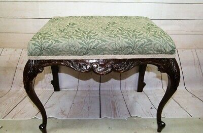Antique Victorian Large Mahogany Rectangular Foot Stool + Green Upholstered Seat