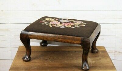 Antique Victorian Rectangular Oak Upholstered Embroidered Small Low Foot Stool