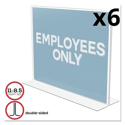 6 Pack of Classic Image Double-Sided Sign Holder, 11 x 8 1/2 Insert, Clear