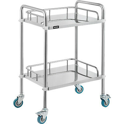 2-Layer Medical Dental Lab Serving Carts Trolley Portable Stainless Steel SH