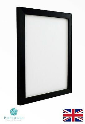 Black Photo Picture Frame 19mm A6 A5 A4 A3 With or Without Mount Glass / Perspex