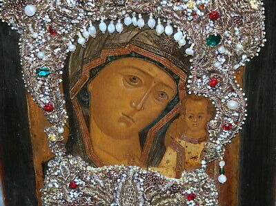 Russian Antique Icon North Russia Pearls Embroidery, 18 c