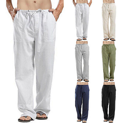 Mens Summer Casual Cotton Linen Pants Yoga Drawstring Loose Elasticated Trousers