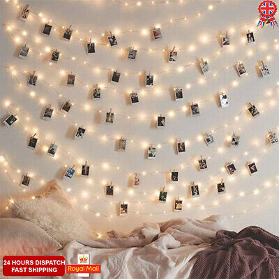 UK 20/50 Photo Window Hanging Peg Clips LED String Lights Home Party Fairy Decor