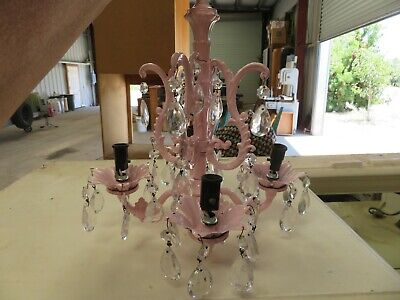 Antique Vintage COTTAGE FRENCH COUNTRY Baby PINK Metal PETITE SIZE Chandelier