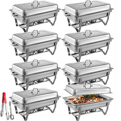 8 Pack Chafing Dish 9 L Buffet Server Chafer Food Warmer Sets Folding Restaurant