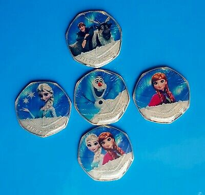 ENAMELLED COIN ELSA ANNA KRISTOFF OLAF FROZEN 50p FIFTY PENCE UK ❆☃