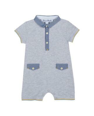 Tartine Et Chocolate Grey Marl Romper Suit With Chambray Collar 9M