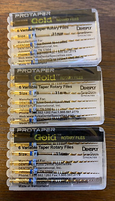 3 x Dentsply ProTaper Gold Files Assorted F3 31mm