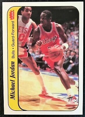 1986-87 Fleer # 8 MICHAEL JORDAN Rookie Rc Sticker Chicago Bulls REPRINT MINT