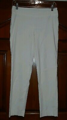 Pure Amici White Stretch Pants Pull On women's Sz M NEW