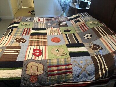 Pottery Barn Boys Full Size Sports Quilt 60 00 Picclick