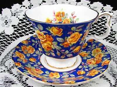 Royal Albert Merrie England Glamis Yellow Roses Tea Cup & Saucer