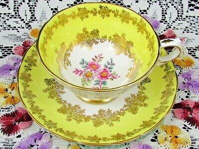 Grosvenor Gold Gilt Flowers Painted Floral Yellow Tea Cup And Saucer
