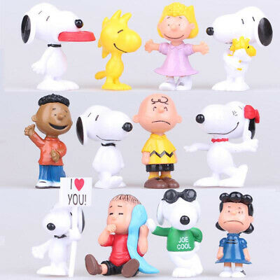 12X Peanuts Charlie Brown Snoopy Lucy Franklin Figure Cake Topper Play kids Gift