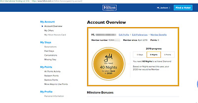 Hilton Honors Gold status (directly Valid until Mar 2021 no stay required)