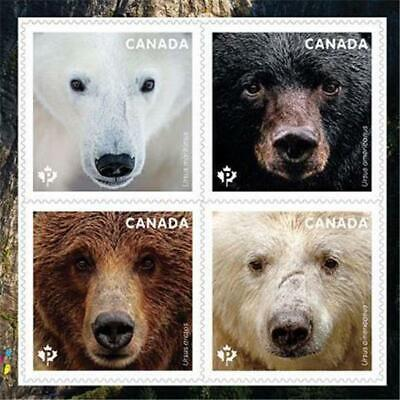 2019 Canada 📭 🐻 BEARS ISSUE 🐻🐻 RIGHT PANE; From Booklet🐻 4 MNH Stamps 📬