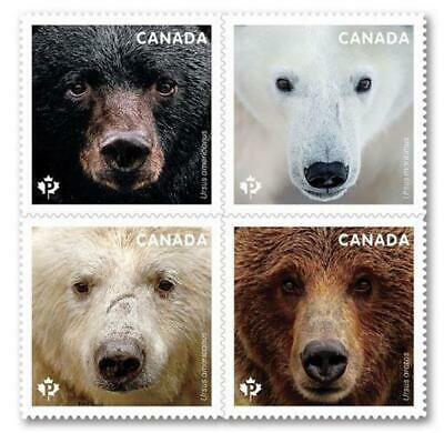 2019 Canada 📭 🐻 BEARS ISSUE 🐻🐻 LEFT PANE; From Booklet🐻 4 MNH Stamps 📬